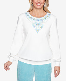 Alfred Dunner Petite Simply Irresistible Embroidered-Yoke Top