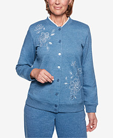 Alfred Dunner Petite At Ease Embroidered Button-Front Jacket