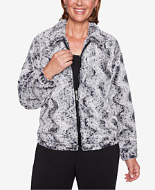 Alfred Dunner Petite Faux-Fur Bomber Jacket