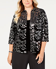 Alex Evenings Plus Size Embellished Velvet Jacket & Top Set