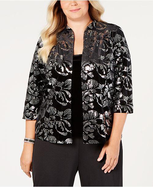2237a3a5a34 Alex Evenings Plus Size Embellished Velvet Jacket   Top Set ...
