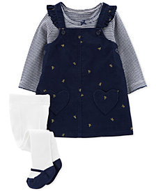 Carter's Baby Girls 3-Pc. Jumper, Top & Tights Set