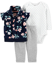 Carter's Baby Girls 3-Pc. Fleece Vest, Bodysuit & Leggings Set