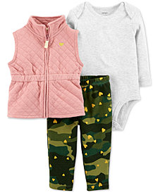 Carter's Baby Girls 3-Pc. Quilted Vest, Bodysuit & Leggings Set