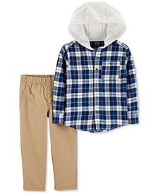 Carter's Baby Boys 2-Pc. Hooded Plaid Flannel Shirt & Pants Set
