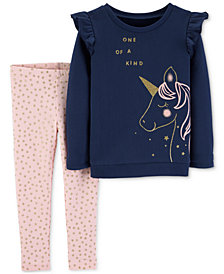 Carter's Baby Girls 2-Pc. Unicorn Top & Star-Print Leggings Set