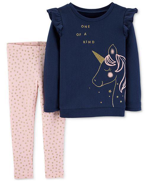 02357ff07010ac Carter's Baby Girls 2-Pc. Unicorn Top & Star-Print Leggings Set ...
