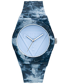 GUESS Women's Light Blue Silicone Strap Watch 42mm