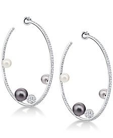 "Swarovski Silver-Tone Pavé Ball & Imitation Pearl 1-4/5"" Hoop Earrings"