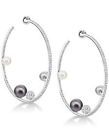 "Swarovski Silver-Tone Pavé Ball & Imitation Pearl 1-4/5"" Hoop Earrings"