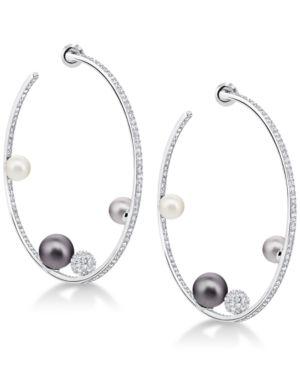 "SWAROVSKI Silver-Tone Pave Ball & Imitation Pearl 1-4/5"" Hoop Earrings in Dark Multi"