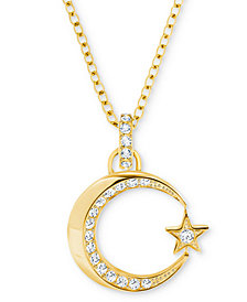 "Swarovski Gold-Tone Pavé Crescent Moon & Star Pendant Necklace, 16-1/2"" + 3"" extender"