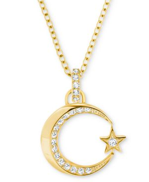 """Gold-Tone Pave Crescent Moon & Star Pendant Necklace, 16-1/2"""" + 3"""" Extender, White"""