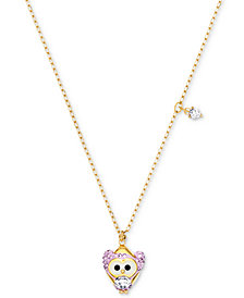 "Swarovski Gold-Tone Crystal Snow Owl Pendant Necklace, 14-4/5"" + ""3 extender"