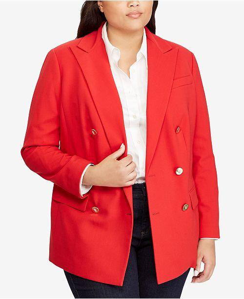 05b41426e638e Lauren Ralph Lauren Plus Size Double-Breasted Blazer   Reviews ...