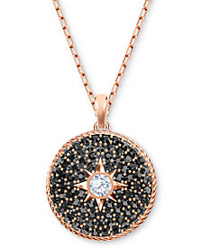 "Swarovski Rose Gold-Tone Crystal Locket 16-1/2"" Pendant Necklace"