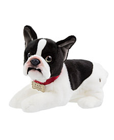 FAO Schwarz Toy Plush Puppy Lying French Bulldog 11inch
