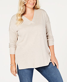 Style & Co Plus Size High-low Over-sized Tunic Sweater, Created for Macy's