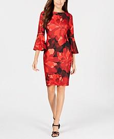 Floral Bell-Sleeve Sheath Dress