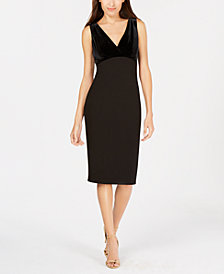 Calvin Klein Velvet & Scuba Crepe Sheath Dress
