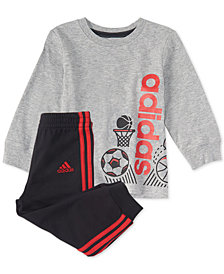 adidas Baby Boys 2-Pc. Logo Graphic Cotton Shirt & Joggers Set