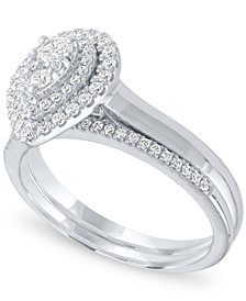 Diamond Pear Double Halo Cluster Bridal Set (1/2 ct. t.w.) in 14k White Gold