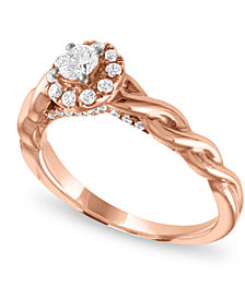 Diamond Halo Enagagement Ring (1/2 ct. t.w.) in 14k Rose Gold