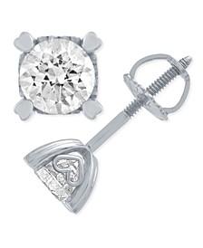 Diamond Stud Earrings in Heart Shape Prongs (3/4 ct. t.w.) in 14k White Gold