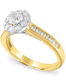Diamond Two-Tone Halo Engagement Ring (1 ct. t.w.) in 14k Gold and White Gold
