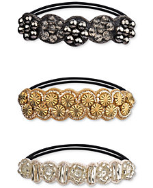 Deepa Tri-Tone 3-Pc. Set Beaded Ponytail Holders