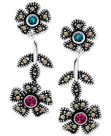 Crystal & Marcasite Flower Drop Earrings in Fine Silver-Plate