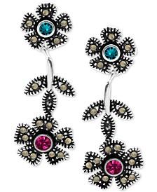 Crystal & Marcasite Flower Drop Earrings in Fine Silver-Plate