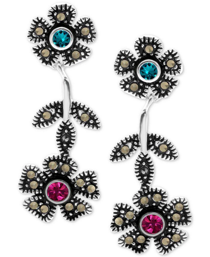 Macy's - Crystal & Marcasite Flower Drop Earrings in Fine Silver-Plate