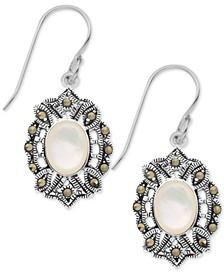 Mother-of-Pearl & Marcasite Oval Drop Earrings in Fine Silver-Plate