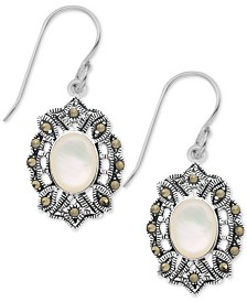 Mother-of-Pearl & Marcasite Oval Drop Earrings in Fine Silver-Plate