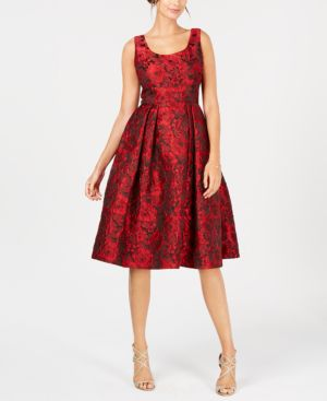 Ivanka Trump Floral-Print Fit & Flare Dress - Red