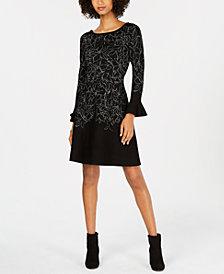 Taylor Metallic-Sketch Bell-Sleeve Sweater Dress