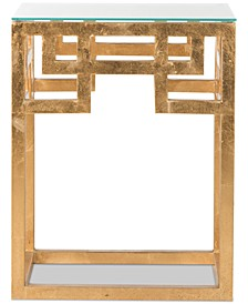 Byram Greek Key Glass Top End Table