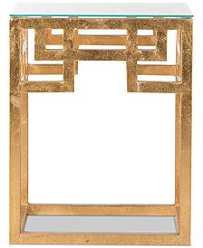 Byram Greek Key Glass Top End Table, Quick Ship