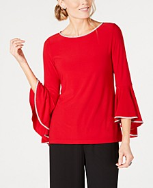 Rhinestone-Trim Bell-Sleeve Top