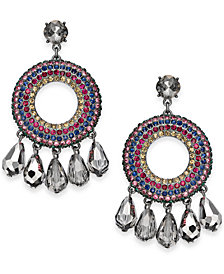 "I.N.C. Large 2"" Hematite-Tone Multicolor Crystal Shaky Drop Earrings, Created for Macy's"