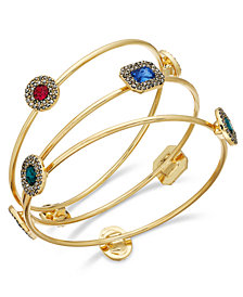 I.N.C. Gold-Tone 3-Pc. Set Crystal & Stone Bangle Bracelets, Created for Macy's