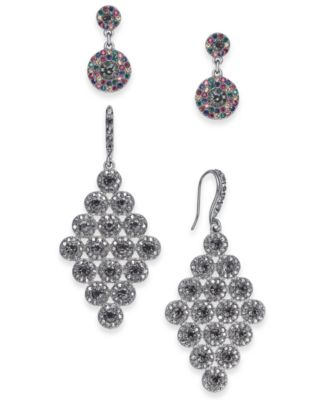 I.N.C. Day & Night Hematite-Tone 2-Pc. Set Coordinated Halo Crystal Drop Earrings, Created for Macy's