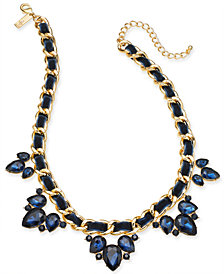 "I.N.C. Gold-Tone Stone Cluster Ribbon Link Statement Necklace, 18"" + 3"" extender, Created for Macy's"