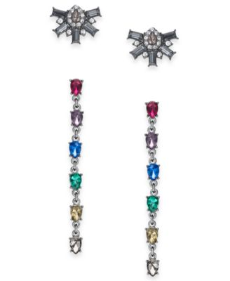 I.N.C. Day & Night Hematite-Tone 2-Pc. Box Set Coordinated Stone & Crystal Cluster Stud Earrings & Linear Drop Earrings, Created for Macy's