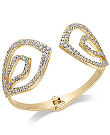 I.N.C. Gold-Tone Pavé Hinged Cuff Bracelet, Created for Macy's