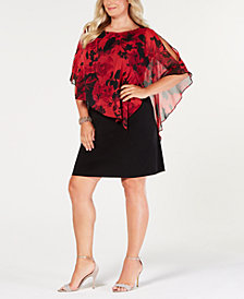 Connected Plus Size Capelet Sheath Dress