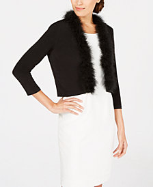 Calvin Klein Faux-Fur-Trim Shrug