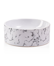 Lacourte Pet White Marble and Embossed Bowl