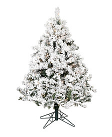4.5' Flocked Alaskan Pine Artificial Christmas Tree with 300 Clear Lights